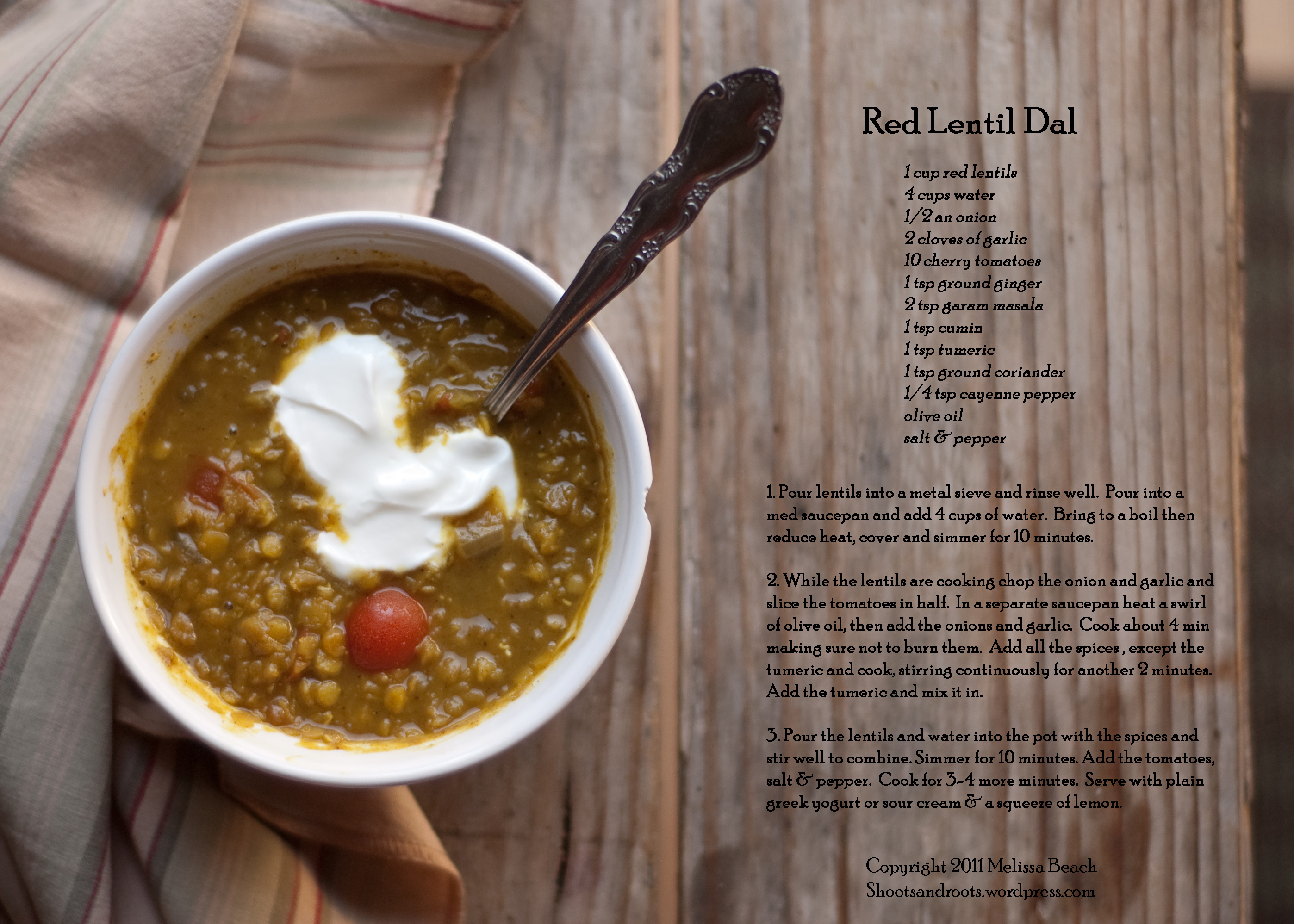 ... Recipe for Indian-Style Red Lentils with Ginger (Red Lentil Dal